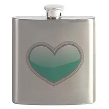 Teal Blue Heart Flask
