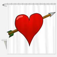 Red Heart With Arrow Shower Curtain