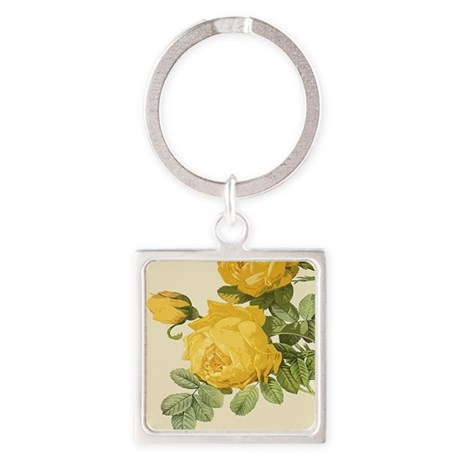 Yellow Rose Square Keychain