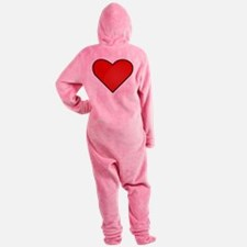 Red Heart Drawing Footed Pajamas