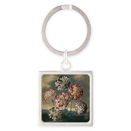 Carnations Square Keychain