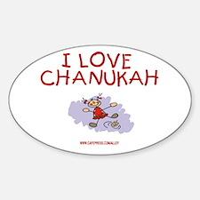I Love Chanukah Oval Decal