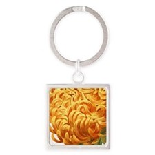 Orange Chrysanthemum Square Keychain