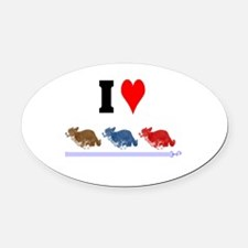 I Love Cardigans Running Oval Car Magnet