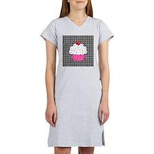 Pink Cupcake on Polka Dots Women's Nightshirt