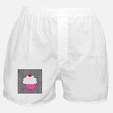 Pink Cupcake on Polka Dots Boxer Shorts