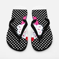 Pink Cupcake on Polka Dots Flip Flops