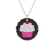 Pink Cupcake on Polka Dots Necklace