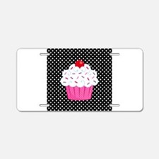 Pink Cupcake on Polka Dots Aluminum License Plate