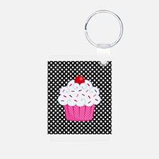 Pink Cupcake on Polka Dots Keychains