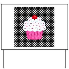 Pink Cupcake on Polka Dots Yard Sign