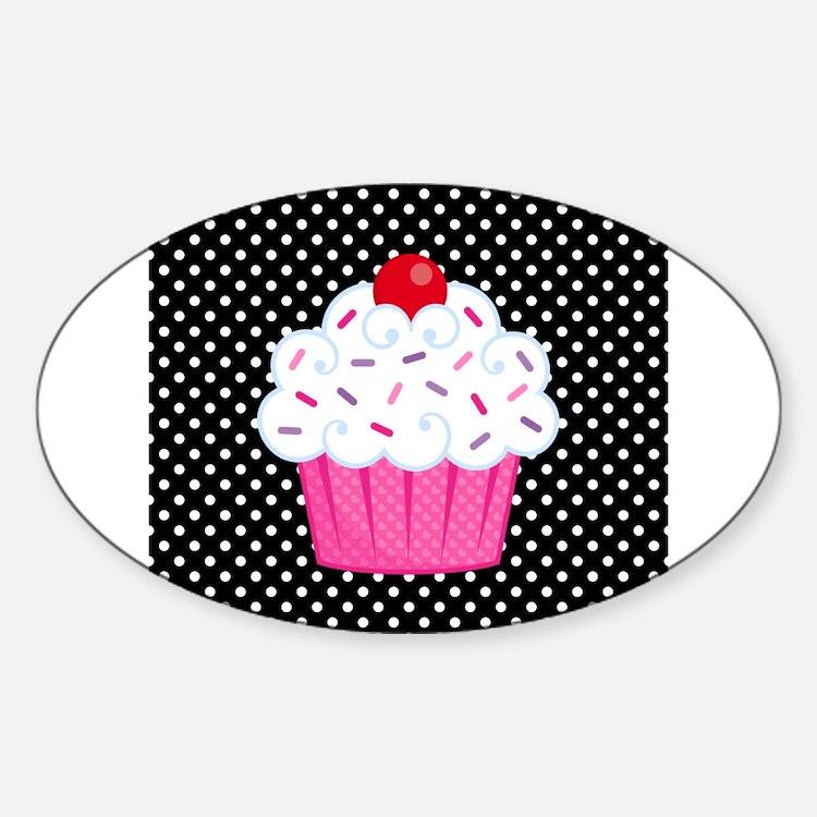 Pink Cupcake on Polka Dots Decal