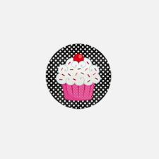Pink Cupcake on Polka Dots Mini Button