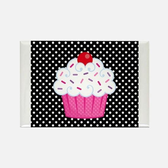 Pink Cupcake on Polka Dots Rectangle Magnet