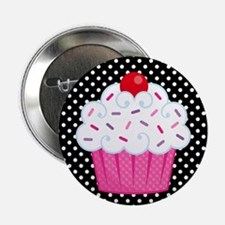 "Pink Cupcake on Polka Dots 2.25"" Button"