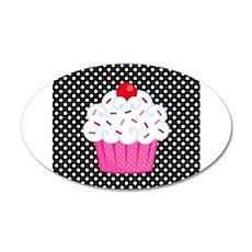 Pink Cupcake on Polka Dots Wall Decal