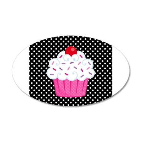 Pink cupcake on polka dots wall decal by beachbumming for How to make polka dots on wall