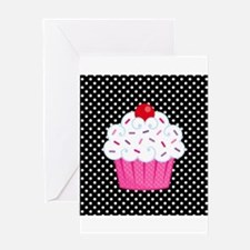 Pink Cupcake on Polka Dots Greeting Card