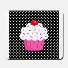 Pink Cupcake on Polka Dots Mousepad