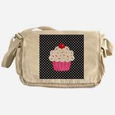 Pink Cupcake on Polka Dots Messenger Bag