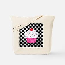 Pink Cupcake on Polka Dots Tote Bag
