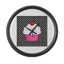 Pink Cupcake on Polka Dots Large Wall Clock