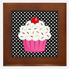 Pink Cupcake on Polka Dots Framed Tile
