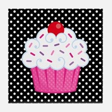 Pink Cupcake on Polka Dots Tile Coaster