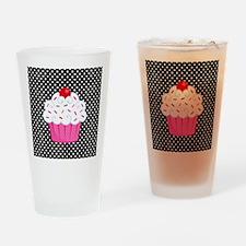 Pink Cupcake on Polka Dots Drinking Glass