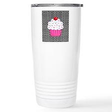 Pink Cupcake on Polka Dots Travel Mug