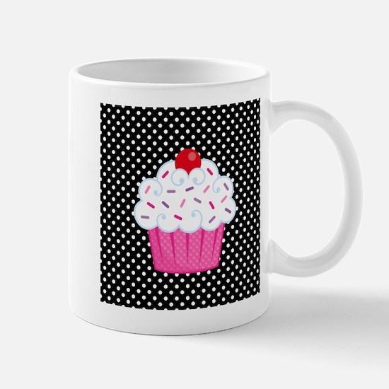 Pink Cupcake on Polka Dots Mug
