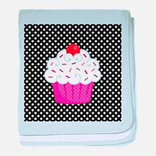 Pink Cupcake on Polka Dots baby blanket