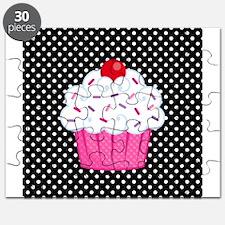 Pink Cupcake on Polka Dots Puzzle
