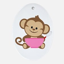 Baking Monkey Ornament (Oval)