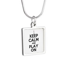 Keep Calm and Play On Handbells Silver Square Neck