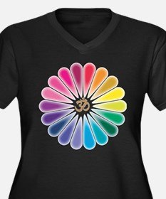 Om Rainbow Flower Plus Size T-Shirt
