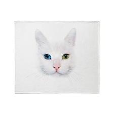 White Cat Throw Blanket