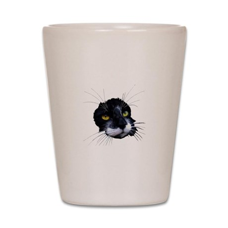 Black and White Cat Face Shot Glass