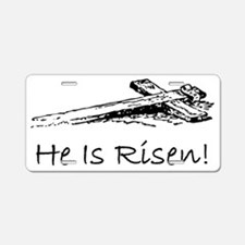 easter he has risen cross Aluminum License Plate