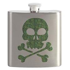 Skull Made of Shamrocks Flask