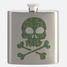 Skull Made of Shamrocks Flask