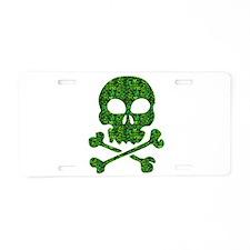 Skull Made of Shamrocks Aluminum License Plate