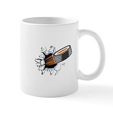 Hockey Puck Rip Through Mug