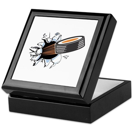 Hockey Puck Rip Through Keepsake Box