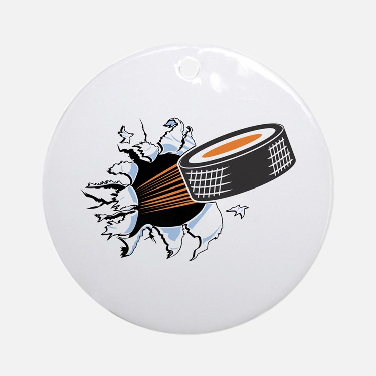 Hockey Puck Rip Through Ornament (Round)