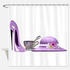 Lilac Stiletto, Hat and Teacup Art Shower Curtain