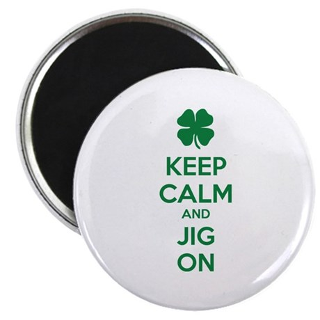 """Keep calm and jig on 2.25"""" Magnet (100 pack)"""