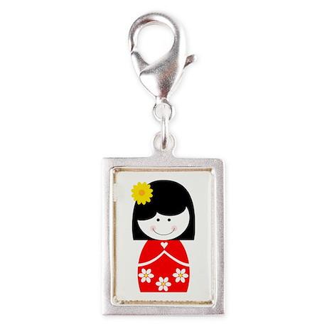 Asian Princess Silver Portrait Charm