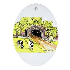 Covered Bridge Ornament (Oval)