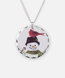 Cardinal Snowman Necklace